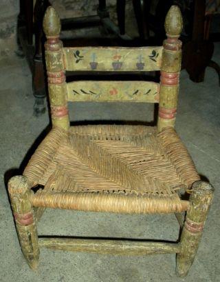 Antique 1800s Primitive Folk Art Pennsylvania German Painted Chair Flowers Vafo photo