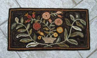 ~primitive Hand Hooked Rug Antique Basket Of Flowers ~ photo
