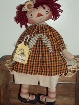 Primitive Raggedy Ann Autumn Scarecrow Rag Doll Annie photo