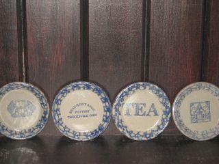 Primitive Country Salt - Glaze Stoneware Miniatures - - 4 Plates - - - Beaumont Pottery photo