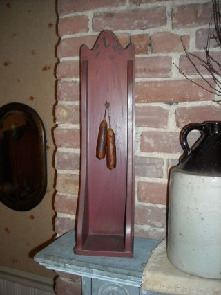 Primitive Painted Maroon Wooden Hanging Or Sitting Candle Box/ Shelf photo