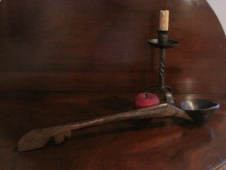 Antique 1800s Native American Indian Hand Carved Wooden Treen Lrg Effigy Ladle photo
