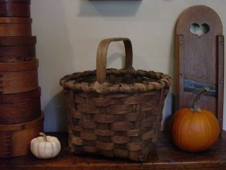 Excellent1800 ' S Antique Pa Farmstead Splint Basket With Bottom Runners. .  Aafa photo
