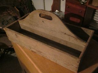 Antique Country Primitive Pine Tool Carrier - Knife Box Type Old Paint photo