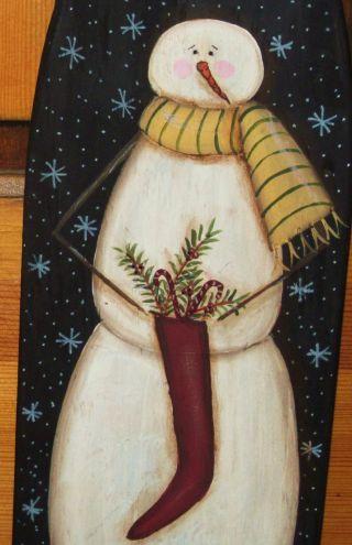 ~ Primitive ~ Hp Folk Art Snowmen Holding A Stocking ~ Winter ~ Stretcher photo
