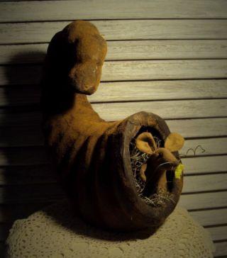 Primitive Folk Art Handmade Mouse Ornie Doll Thanksgiving Cornucopia Gathering photo