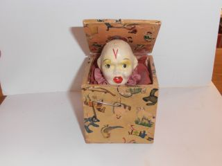 Antique 19th Century Miniature Jack In The Box Child ' S Toy photo