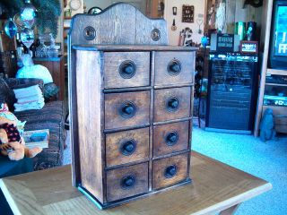 Primitive 8 Drawers Spice Cabinet photo