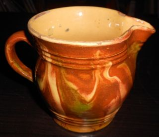 19th C Folk Pottery Redware Creamer / Pitcher W/ Polychrome Glaze - A Beauty photo