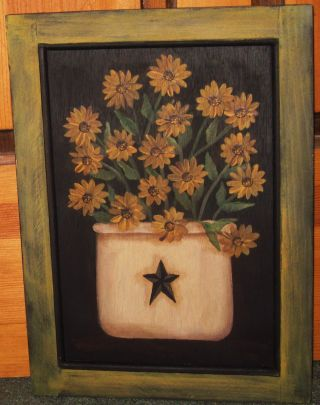 ~ Primitive ~ Hp Folk Art Crock Of Sunflowers ~ Barn Star ~ Fall ~ Door Panel photo