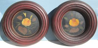 Fraktur Pa German Hand Painted Flowers In Home Made Bowl Frames Unique photo