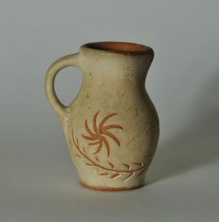 Small Primitive Redware Decorated Pitcher N2 photo