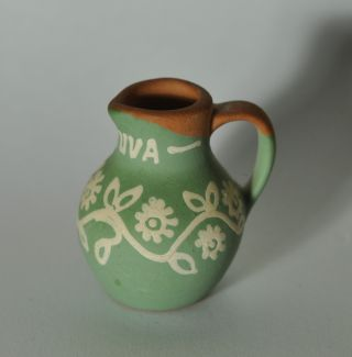 Small Primitive Redware Decorated Pitcher N3 photo