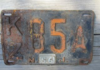 Vintage New Jersey Antique License Plate Kz85a Circa 1956 photo