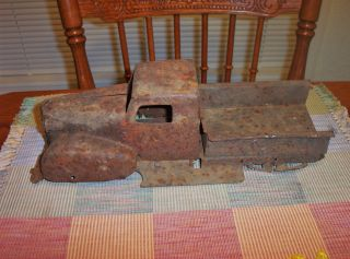 Very Old Antique Ford Truck Rusted Metal Toy Truck photo