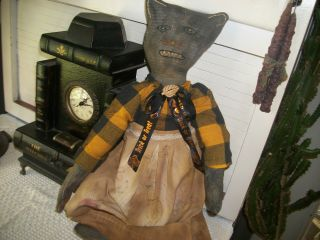 Halloween Cat,  About 21 In.  Tall Ooak Very Grundge Look,  Very Detailed.  Collecti photo