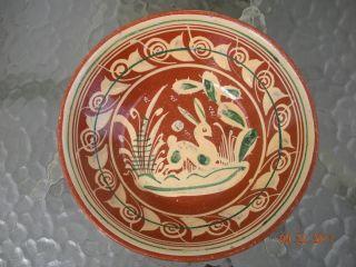 Rare Antique Redware Slip Decorated Bowl 1850 ' S Pa Or Nc Rabbit photo