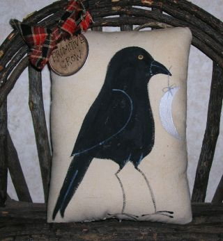 Primitive Halloween Crow Moon Ornie Wallhanging Pillow Tuck Blackbird Primitive photo