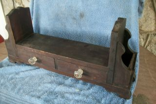 One Of A Kind Primitive Hand Made Desk And Stationary Organizer With Glass Knobs photo