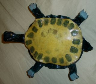 Vintage Pottery Turtle Folk Art,  Circa 1900,  Handmade,  One Of A Kind,  Whimsical photo