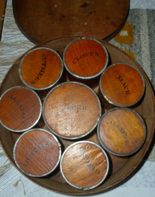 Antique 19c Bentwood Stenciled Wood & Tin Spice Box Set 9 Boxes photo