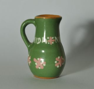Small Primitive Redware Glazed Decorated Pitcher N4 photo
