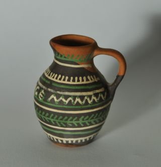 Small Primitive Redware Glazed Decorated Pitcher N5 photo