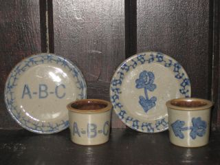 Primitive Country Salt - Glaze Stoneware Miniatures - - Sets - - - Beaumont Pottery photo