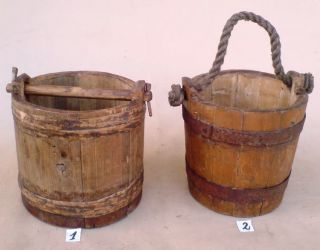 Two Antique Wooden Buckets (you Can Choose To Buy Only One Which You Like More) photo
