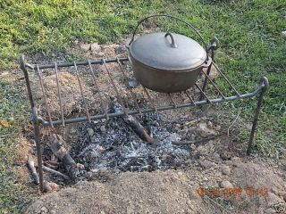 Iron Cooking Grill,  Open Fire,  Camping,  Reenactors,  Bug Out,  Blacksmith Made photo
