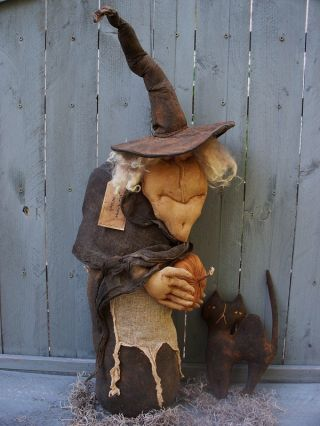 Primitive Olde Salem Hag And Cat Huge Halloween Porch Greeter Witch Doll photo