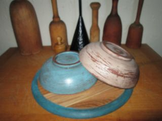 Primitive Farmhouse 2 Painted Wood Dough Bowls In Winter Hues Colors photo