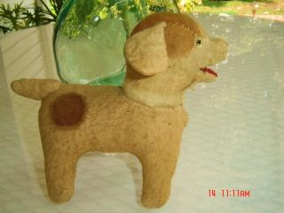 Antique Sawdust Stuffed Dog - - - Handmade - - Possibly Amish photo