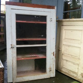 Primitive Handcrafted Cupboard Pantry Vtg Cabinet Pie Safe Old 1900s photo