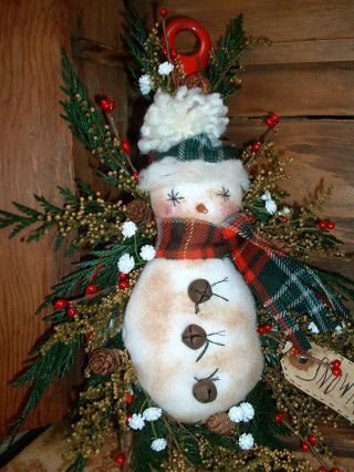 Vintage Red Handle Enamel Dipper~snowman~prim photo