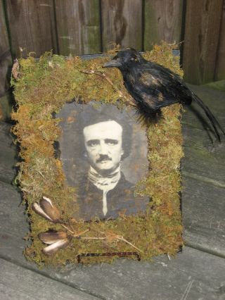 Primitive Grungy Gothic Mixed Media Edgar Allan Poe With Raven Crow photo