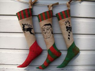Primitive Vintage Christmas Stocking photo