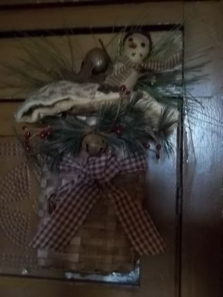 Basket Of Goodies Snowman And More Primitive - Rustic Decor photo