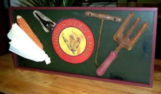 Primitive Hybrid Sweet Corn Tools Sign ~ Fork Shucker Hook Awesome photo
