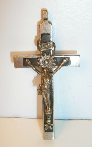 Antique Victorian Catholic Pectoral Cross Crucifix Skull Cross Bones 1800 ' S photo