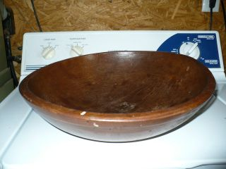 Antique Primitive Wooden Dough Bowl photo