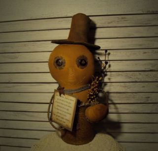 Primitive Folk Art Artist Halloween Pumpkin Man Doll Rusty Tin Can Gathering photo