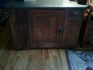 Early Old American Primitive Furniture Painted Early American Country Dry Sink photo