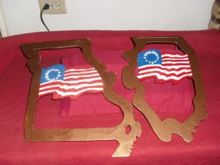 Set Of 2 Wood Wall Art Of The Early American Flag.  Wow Very Net Looking photo