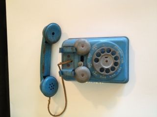 Vintage Metal Toy Phone Ringer Childrens Play Toy Primitive photo