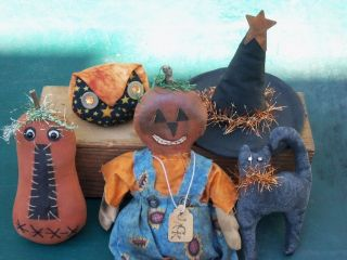 Ooak Primitive Miniature Halloween Bowl Fillers Jol Doll Owl Black Cat Pumpkin photo