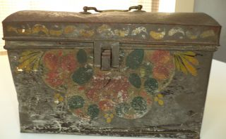 Early American Painted Tole Document Box With Floral Decoration photo