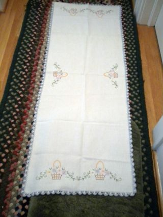 Antique Vintage C1940 Handcraft Floral Basket Dining Table Runner 18x50 photo