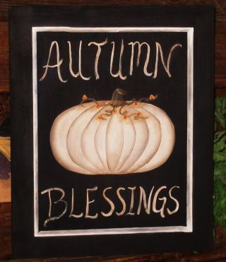 ~ Primitive ~ Hp Folk Art White Pumpkin ~ Autumn Blessings ~ Door Panel photo