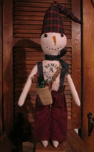 Primitive Country Snowman Christmas Frosty Bemis Seamless Label photo